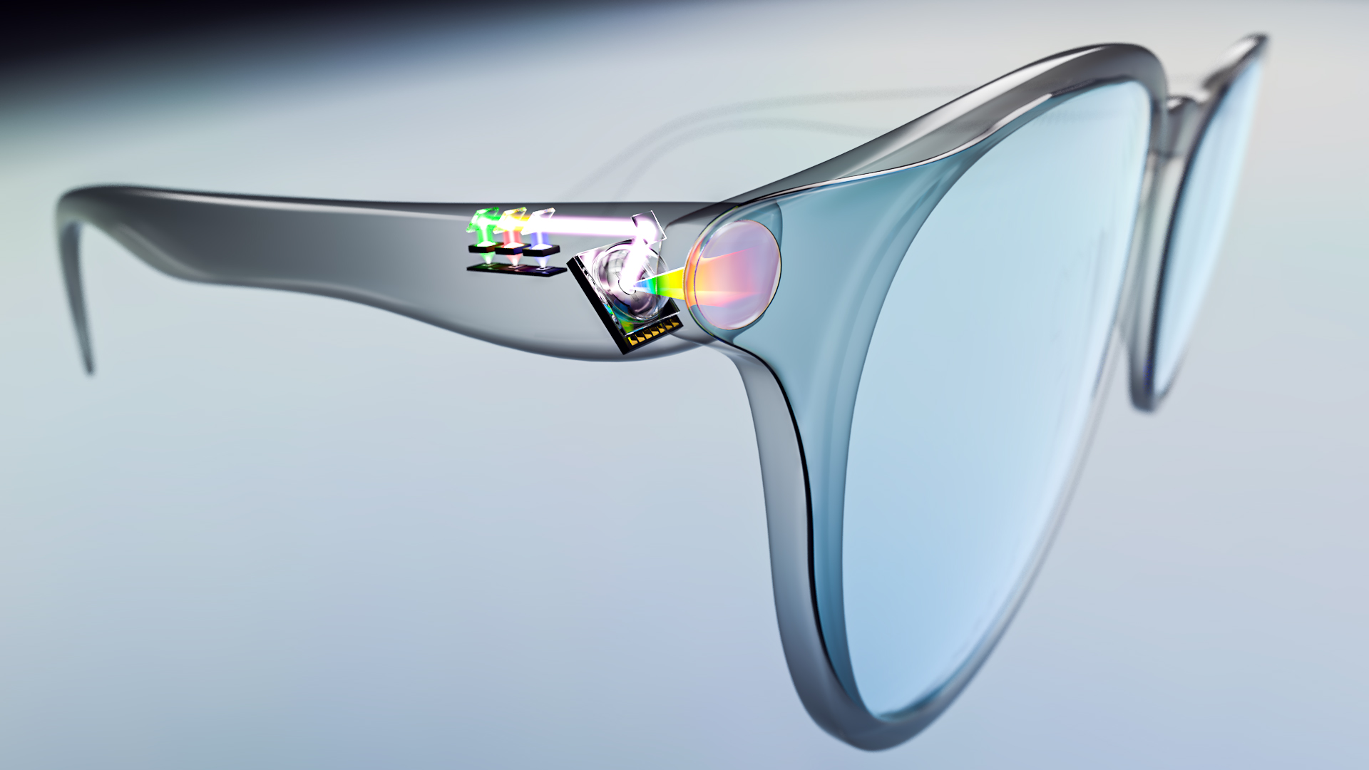OQmented glasses with mirror, RGB laser source and waveguide